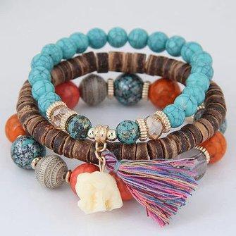 Alloy Vintage Boho Beads Tassel Bracelet