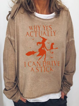Yes I Can Drive A Stick Halloween Sweatshirt Fall Long Sleeve Top