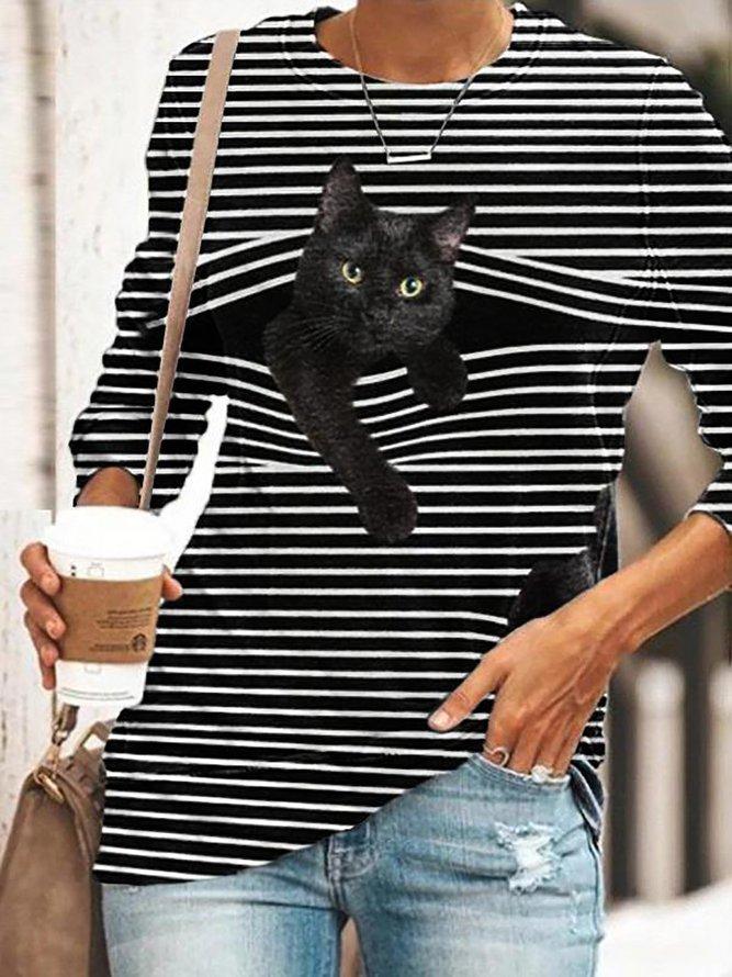 Cute Cat Women's Long Sleeve Casual T-Shirt