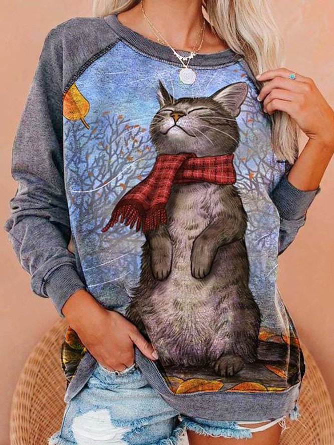 Long Sleeve CAT Print Sweatshirt, Our Favorite Hoodies for Cat Lovers