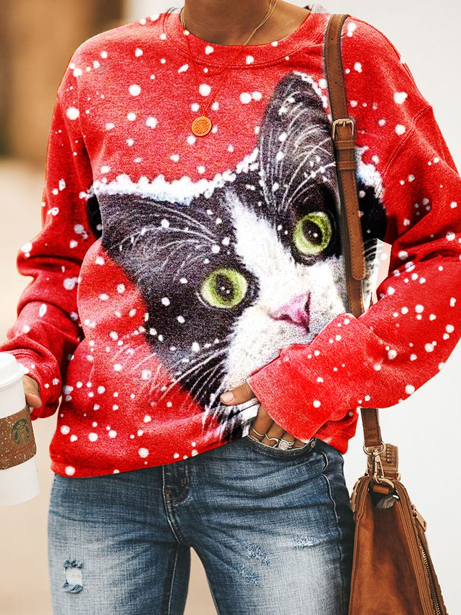 Christmas Cat Women Sweatshirt, Our Favorite Hoodies for Cat Lovers
