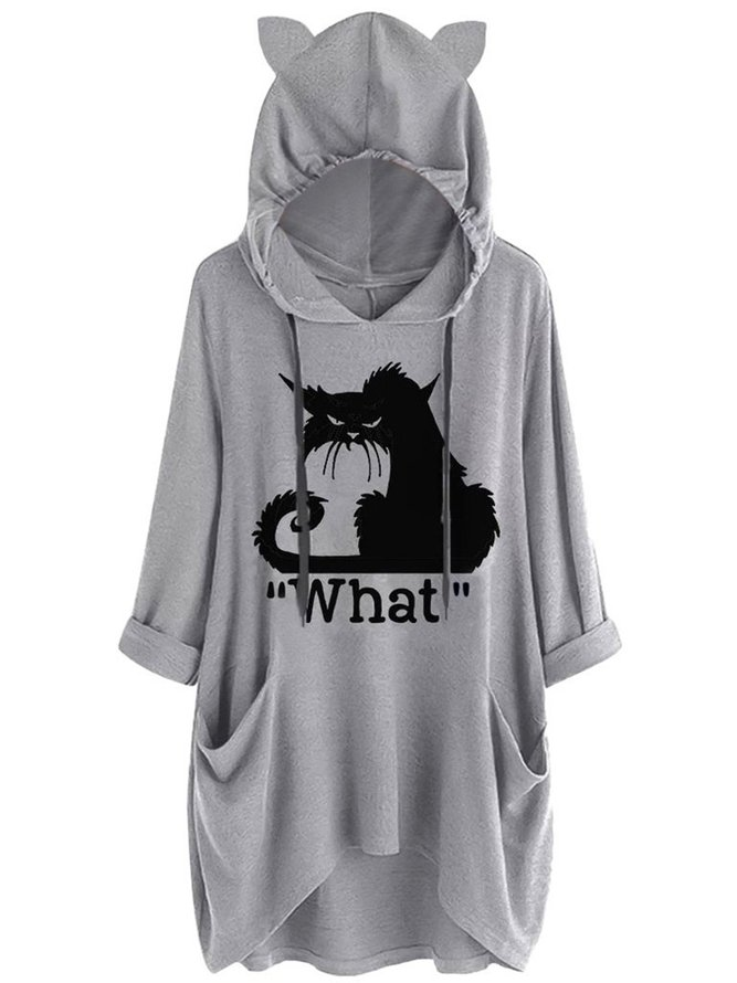 Black Cat Graphic Print Pocket Drawstring Hooded Tee, Our Favorite Hoodies for Cat Lovers