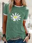 Floral Printed Casual Short Sleeve Crew Neck T-Shirt Top