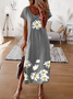 Floral-Print Casual Vintage Short Sleeve Yellow Dresses