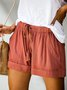 Women Casual Loose Plain Summer Shorts Plus Size Bottom