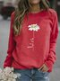 Women Daisy Printed Casual Long Sleeve Red Shirts Tops