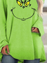 Women's Grinch Face Christmas Crew Neck Casual Print Top