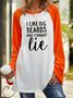 Letter Print Long Sleeve Loose Round Neck Top