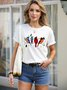 Four Multicolor Birds Graphic Tee Standing on the Branch